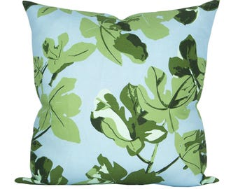 OUTDOOR - Fig Leaf pillow cover in Original on Blue