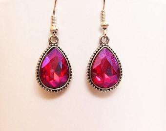 Jeweled Earrings | Chandelier Earrings | Pink Gems | Pink Jewels | Gold Earrings | Pink Jeweled Earrings | Jewelry