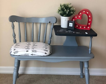 Vintage Telephone Table With Chalkboard Paint Arrow Fabric