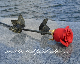 Single Iron Rose, Hand Forged Iron Rose, Iron Rose, Single Hand Forged Rose, Metal Rose, Wrought Iron Hand Forged Rose Red Black silver Роза