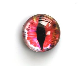 18mm handmade glass eye cabochon - pink cat or dragon eye - Hemispherical / high dome