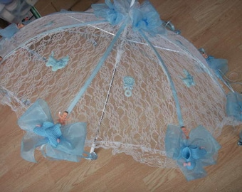 36 White Lace Baby Shower Umbrella Blue Storks