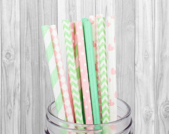 Pink & Green Paper straws - Party Supplies Birthday Party decorations - Wedding - Baby Shower - Mason Jar Straws - Baptism - 25 pcs