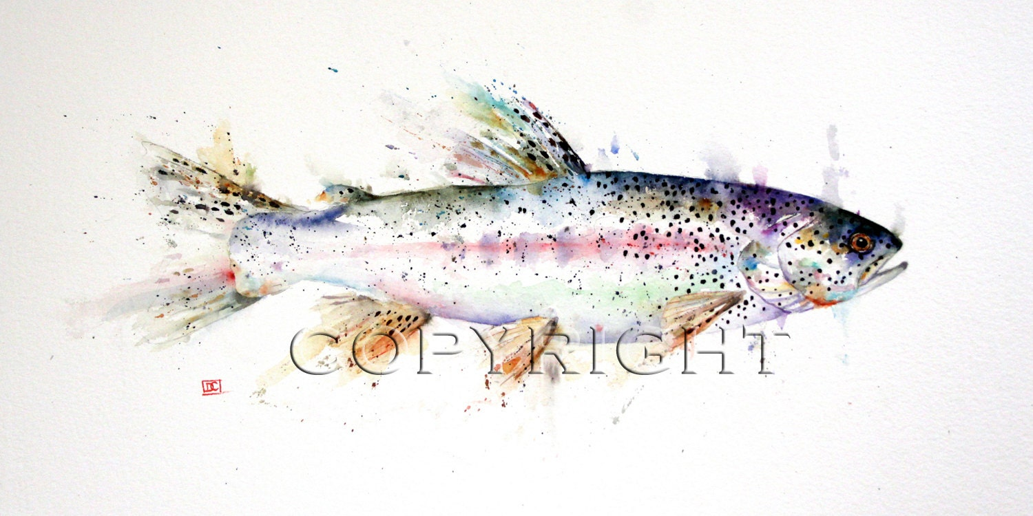 TROUT Watercolor Fish Print by Dean Crouser