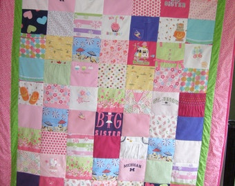 Keepsake quilt from baby clothes (size 72 X90) twin size