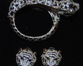 leopard bracelet and earring set