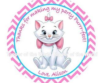 12 Marie from Aristocats Personalized pink Birthday Party Favor Thank You Tags or Stickers You Choose