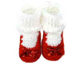 Ruby Red Sparkle Slippers Crochet Shoes with White Socks for Baby Infant 0-3 Months Size