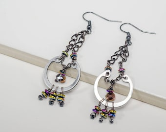 Automotive Hardware, chain and hematite Earrings