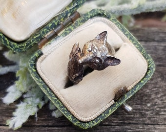 Vintage Hallmarked 1981 Sterling Silver Detailed Realistic Fox Ring / Size I