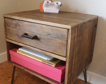 "Reclaimed Wood Nightstand with Drawer & Cubby - The ""Holland"", Mid Century, Rustic, Farmhouse, Industrial"