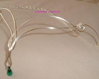 Celtic Elven Silver & Emerald Austrian Crystal Circlet adjustable weddings handfasting larp ren