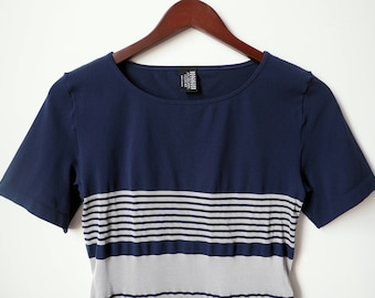 Women's 1990's Blue and White Striped fitted  Wolford pure T-Shirt/ bodysuit Size Medium