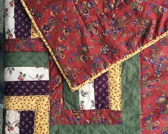 "1990s Handmade Quilt - Green, Rust, Purple, Yellow, Cream Calico Prints - 56"" x 42"" Lightweight - Machine Quilted"