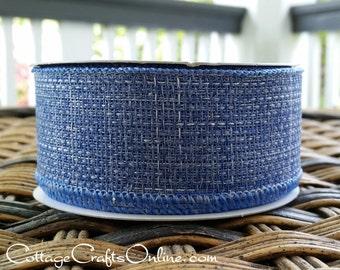 """Wired Ribbon, 1-1/2"""" Faded Blue Jean Faux Denim - TEN YARD ROLL -  """"Blue Jean Hopsack"""" Summer, Americana, Western Wire Edged Ribbon"""