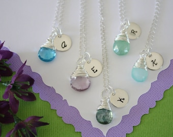 11 Bridesmaid Gift Personlized Necklace, Initial Jewelry, Bridal Party, Gemstone and Initial, Gift Set, Sterling Silver, Wedding