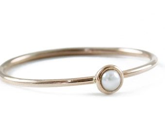 Gold Ring, Pearl Ring, Stacking Ring, Petite Ring, 14K Gold Ring, Natural Pearl, Tula Jewelry