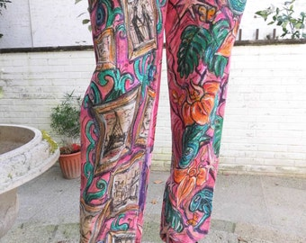 painted linen trouser pink green turquoise gold floral flowers exotic summer size S-M.