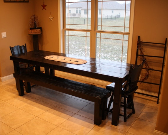 8 FT Unique Primtiques Classic LONG Black Kitchen Table And Two Matching Large Benches Set Custom Sizes Colors Home Wedding Decor Primitive