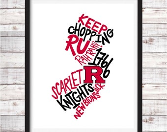 Rutgers University | Printable Art | College Student Gift | College Graduation | Dorm Room Decor | Wall Art | Wall Decor