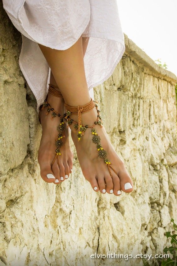 foot Boho sandles wedding sandals Gypsy barefoot bottomless sandals barefoot Hippie Bohemian anklets footless jewelry Beach Yoga sandals TRqxfvT