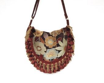 gypsy tapestry shoulder bag, hippie bag, bohemian bag, messanger bag, fringed bag