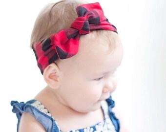 Baby Knot Headband, Baby Turban Headband, Baby Headwrap, Turban Headband, Toddler Knotted Headband, Baby Gift - Red and Black Buffalo Plaid