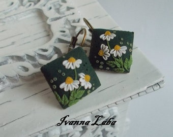 Daisy flower earrings, wild flowers, cute earrings, stylish earrings, handmade, gift earrings