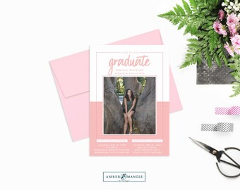 Pink and White Graduation Announcement, Photo Graduation Invitation, Graduation Party Invitations 2018, High School Graduate Announcement