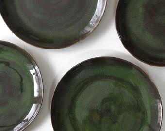 Stoneware Plates Dinner Set glazed in moss green. Ceramic Plate. Pottery Handmade Stoneware & Stoneware Dishes Stoneware Dinnerware Ceramic Dish Set