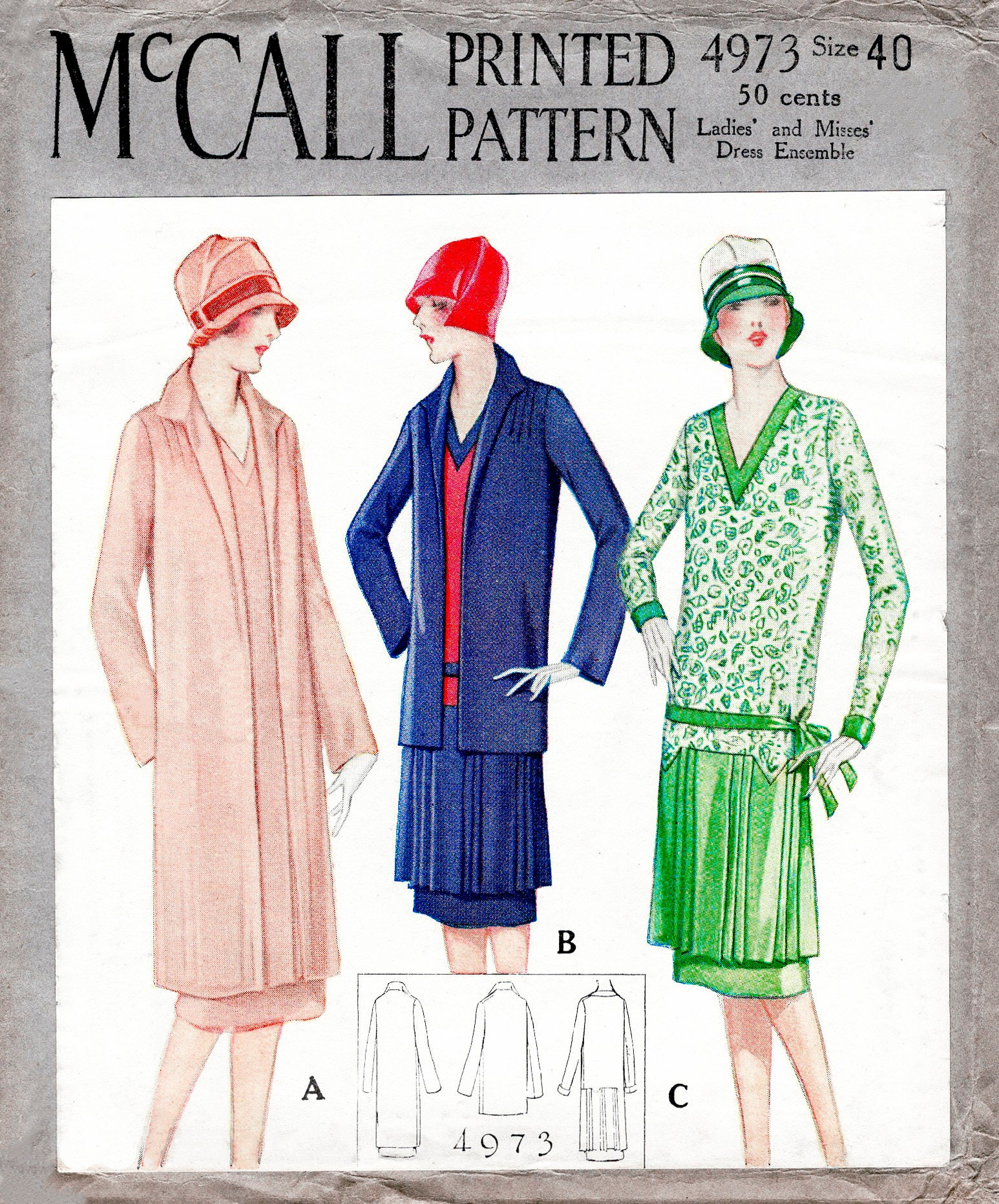 1920s dress & coat vintage sewing pattern reproduction flapper