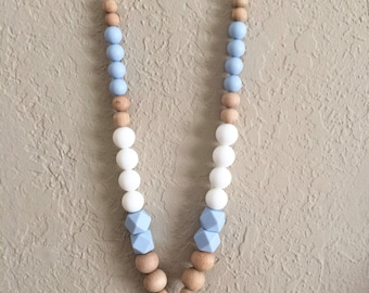 Silicone Teething Necklace, Nursing Necklace, Chew Beads, white blue pendant, happy baby beads