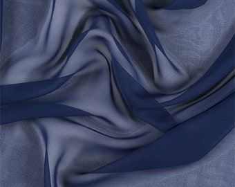 Dark Blue Silk Chiffon, Fabric By The Yard