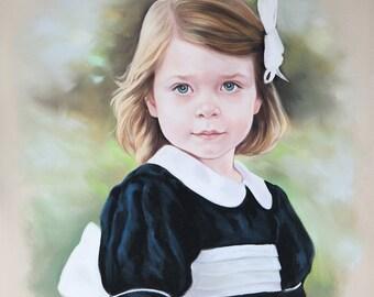 Pastel portrait painting, 21,5 x 20 Inches