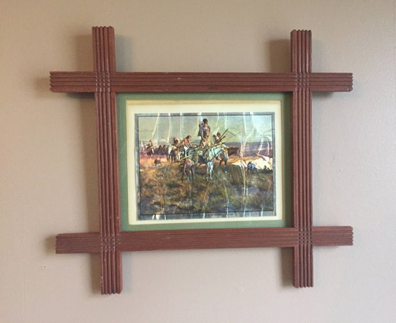 Wood Picture Frame, Vintage Carved Criss-Cross Design Adirondack ...