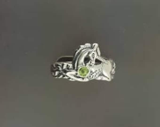 Unicorn Ring in Sterling Silver with Birthstone