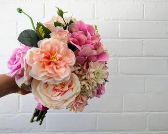 Peach Pink Wedding Bouquet with Greenery Pretty Pastel Blush Tones, Handmade Wedding Bouquet