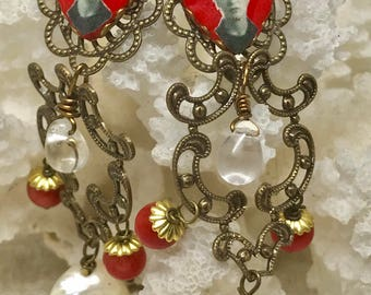 Liygrace Red Frida Heart Cameo earrings with Antiqued Brass filigees, Freshwater Pearls and Coral