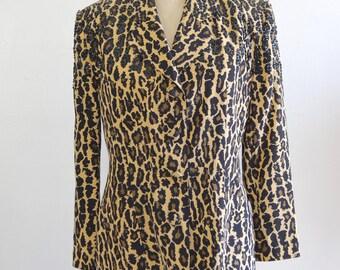 Silk Black Leopard Sequins Animal Print Beaded Blazer Jacket Eleanor P Brenner Size 4