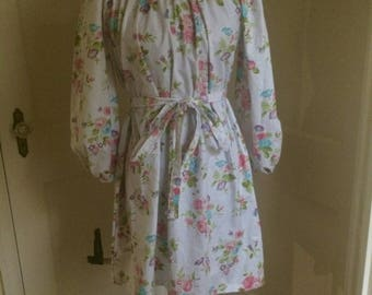 Floral Peasant Dress Boho Shabby Chic Handmade 100% Cotton Pay-What-You-Want Custom Made