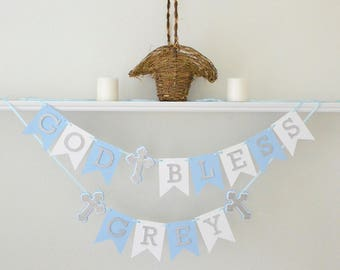Baptism Decor Boy - Boy Baptism - Baptism Decorations Boy - 1st Communion Boy - God Bless Banner - Baptism Banner - Christening