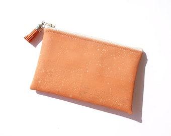 Geldbeutel aus Kork, orange