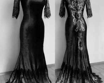 Morticia lace ornament gothic dress