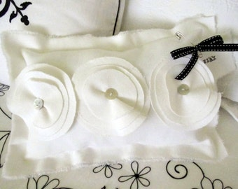 Cottage Chic Boudoir Pillow with Cotton Millinery Flowers - White Cotton Twill or Canvas - Original Design by Suzanne MacCrone Rogers