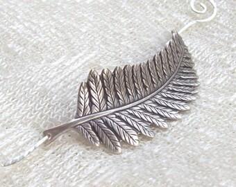 Silver Leaf Shawl Pin, Fern Scarf Pin, Silver Shawl Pin, Sweater Pin, silver hair slide, oxidized, fern leaf, fall fashion, silver filled