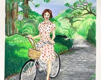 "Original Gouache Illustration ""Garden Bicycle Ride"" by Amanda Shelton - 8x8 inches painting, art, original art, nature, garden art"