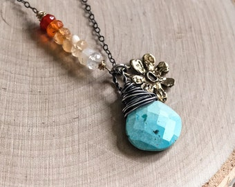 Turquoise Necklace, Sleeping Beauty Turquoise Necklace, Robins Egg Blue, Mexican Fire Opal, Sterling Necklace, Flower Charm, Silver and Gold