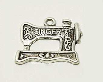 14 Antiqued Silver Sewing Machine Charms or Pendants  Single-Sided 17.5x19.5mm Wholesale Charms - Fast Ship  1020
