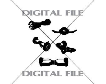 Five Hoverboards Vector Images SVG Files Digital Cutting Files  Ai - Eps - PNG - DXF - Svg
