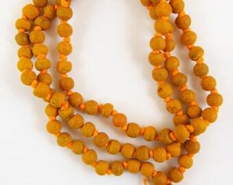 Naturally Aromatic 7mm Knotted Haldi Turmeric Mala Prayer Beads